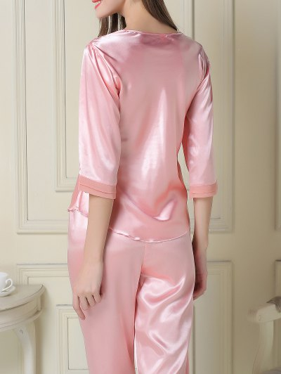 Satin Tee and Capri Pants Pajama - PINK M Mobile