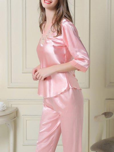 Satin Tee and Capri Pants Pajama - PINK XL Mobile