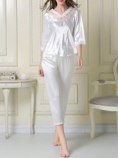 Satin Tee and Capri Pants Pajama - WHITE L Mobile