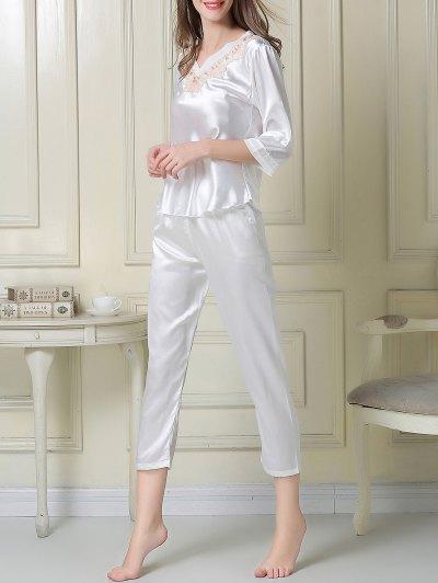 Satin Tee and Capri Pants Pajama - WHITE XL Mobile