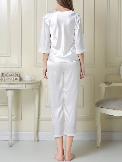 Satin Tee and Capri Pants Pajama - WHITE 2XL Mobile