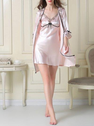 Satin Slip Dress and Sleep Robe - LIGHT PINK M Mobile
