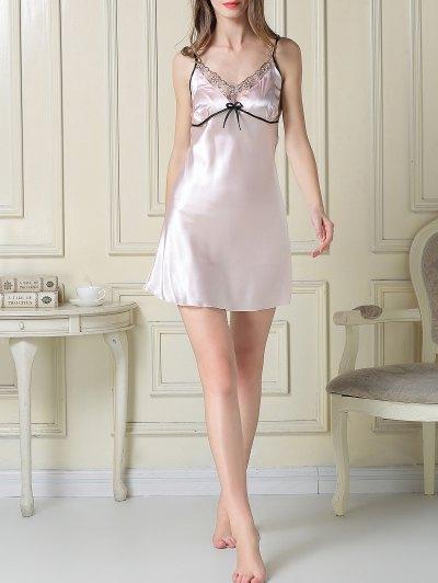 Satin Slip Dress and Sleep Robe - LIGHT PINK L Mobile