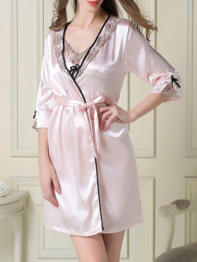 Satin Slip Dress and Sleep Robe - LIGHT PINK XL Mobile