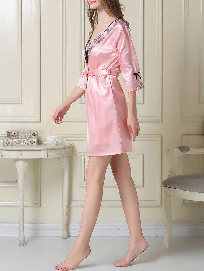 Satin Slip Dress and Sleep Robe - PINK M Mobile
