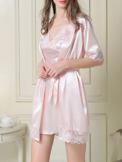 Silky Slip Dress and Robe - LIGHT PINK XL Mobile