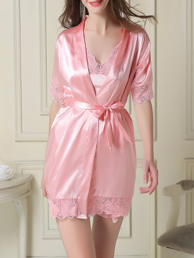 Silky Slip Dress and Robe - PINK L Mobile