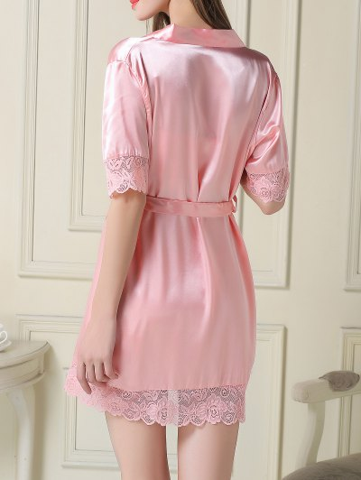 Silky Slip Dress and Robe - PINK 2XL Mobile
