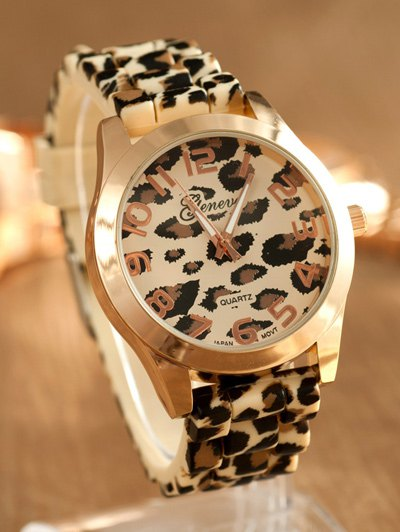 Leopard Silicone Band Quartz Watch - BROWN  Mobile