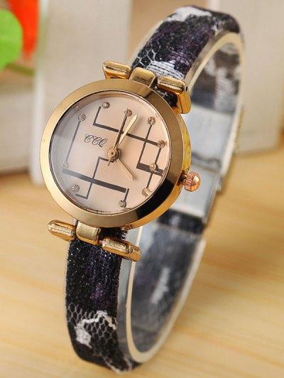 Rhinestone Analog Quartz Watch - BLACK  Mobile