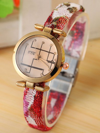 Rhinestone Analog Quartz Watch - RED  Mobile