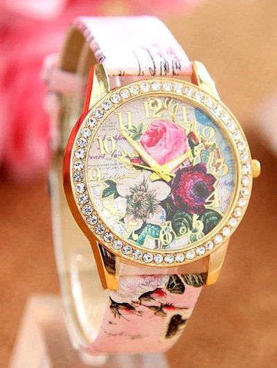 Rhinestone Faux Leather Rose Quartz Watch - PINK  Mobile