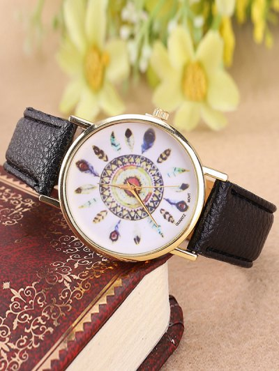 Faux Leather Feather Pattern Quartz Watch - BLACK  Mobile