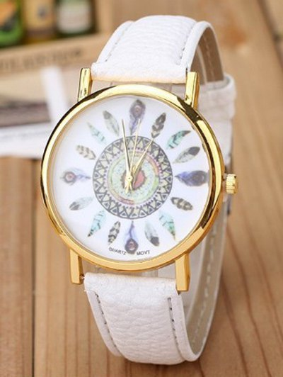 Faux Leather Feather Pattern Quartz Watch - WHITE  Mobile