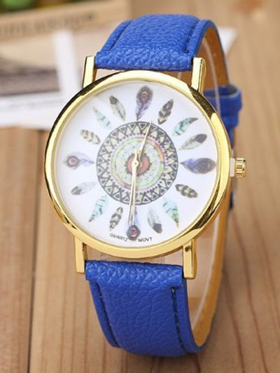 Faux Leather Feather Pattern Quartz Watch - BLUE  Mobile