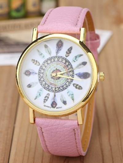 Faux Leather Feather Pattern Quartz Watch - PINK  Mobile