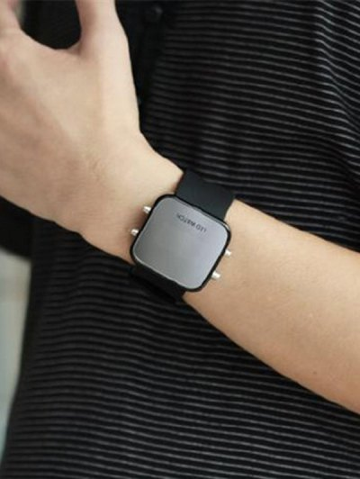LED Silicone Digital Watch - BLACK  Mobile