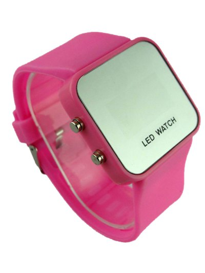 LED Silicone Digital Watch - PINK  Mobile