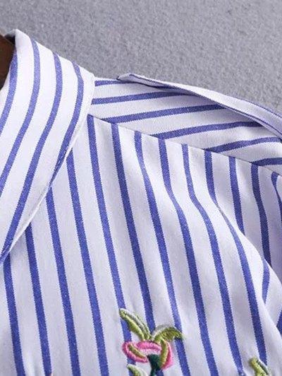Embroidered Striped Shirt Dress - STRIPE L Mobile