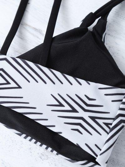 Stripes Strappy Bikini - WHITE AND BLACK L Mobile