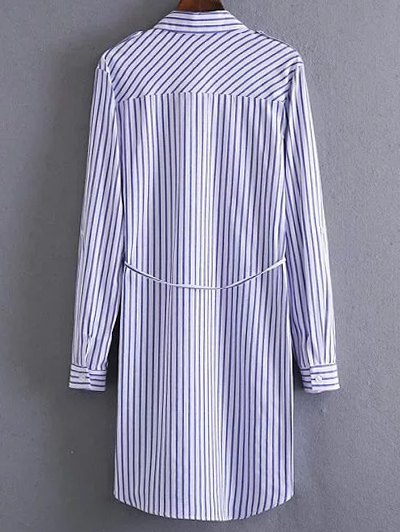 Embroidered Striped Shirt Dress - STRIPE L Mobile