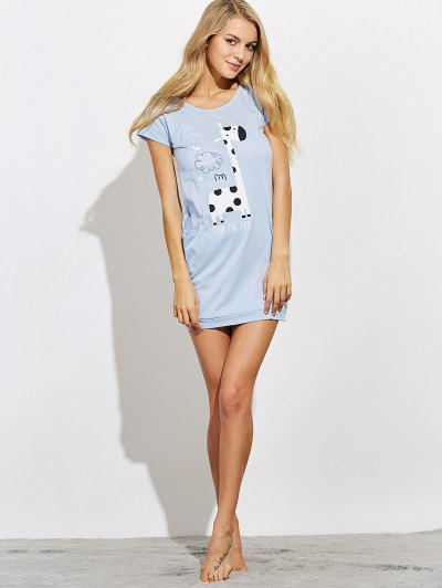 Cartoon Print Casual Night Dress - LIGHT BLUE L Mobile