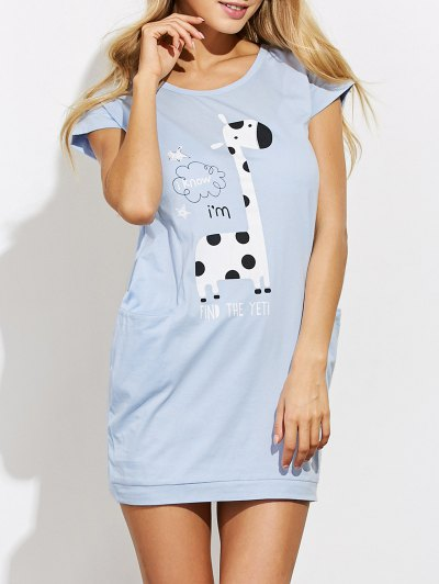 Cartoon Print Casual Night Dress - LIGHT BLUE S Mobile