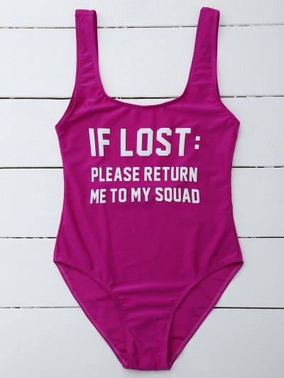 If Lost Letter Swimwear - PURPLISH RED M Mobile