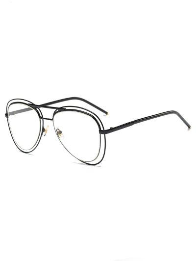 Double Rims Transparent Lens Pilot Sunglasses - BLACK  Mobile