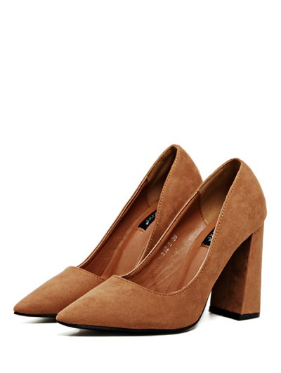 Suede Pointed Toe Chunky Heel Pumps - BROWN 38 Mobile