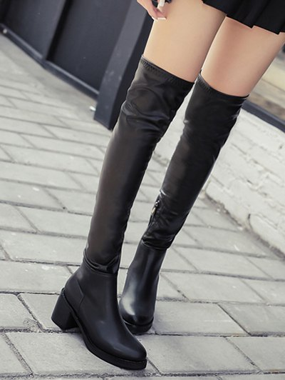 Platform Zipper Rpund Toe Thigh Boots - BLACK 39 Mobile