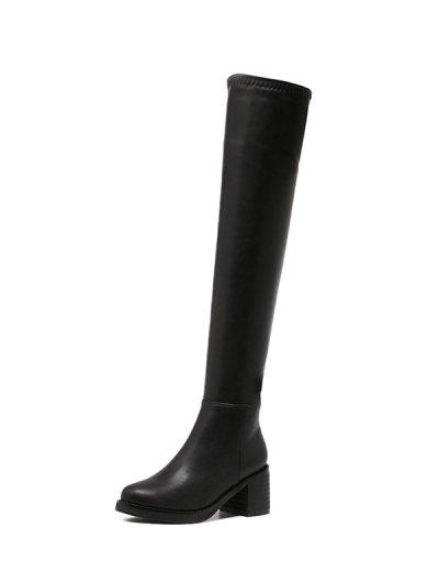 Platform Zipper Rpund Toe Thigh Boots - BLACK 37 Mobile
