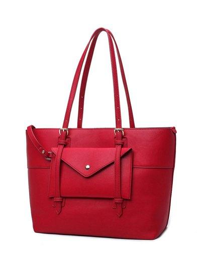 Buckle Strap PU Leather Handbag Set - RED  Mobile