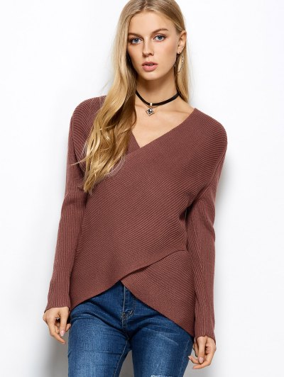 Wrap Ribbed Sweater - RED ONE SIZE Mobile