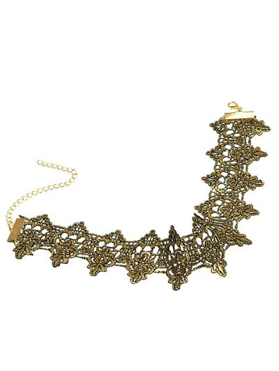 Hollow Floral Wide Choker - BLACK GOLD  Mobile
