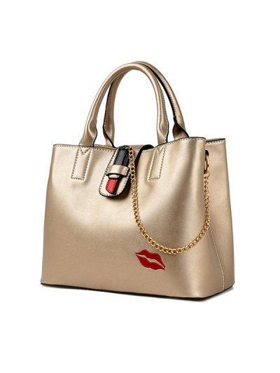 Chains Embroidered Lip Handbag - GOLDEN  Mobile