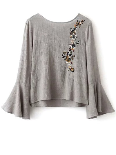 Bell Sleeve Floral Embroidered Blouse - GRAY L Mobile
