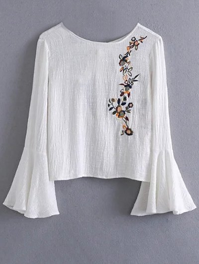 Bell Sleeve Floral Embroidered Blouse - WHITE M Mobile