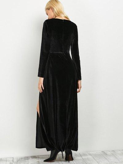 Long Sleeve High Slit A-Line Dress - BLACK S Mobile