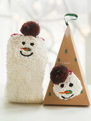 Cartoon Snowman Coral Fleece Socks - White