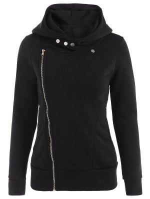 Fleece Inner Asymmetric Zip Hoodie - Black
