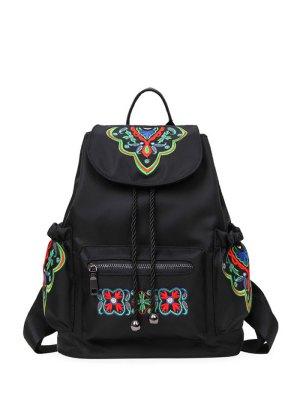 Nylon Embroidered Backpack - Black
