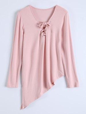 Long Sleeves Asymmetric Hem Tee - Pink