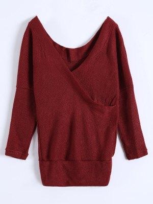 V Neck Cozy Sweater - Burgundy