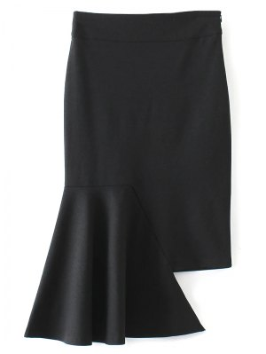 Asymmetric Trumpet Skirt - Black