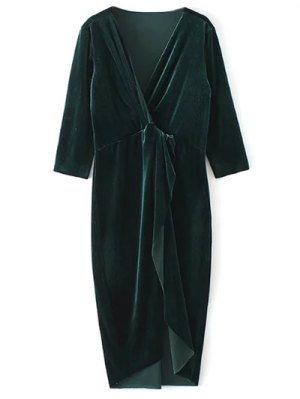 Twist Front V Neck Velvet Dress - Dark Green
