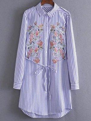 Embroidered Striped Shirt Tunic Dress - Stripe