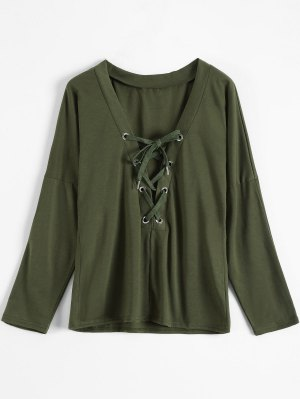 Long Sleeves Lace Up Plunge Tee - Army Green