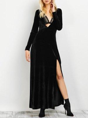 Long Sleeve High Slit Low Cut Maxi Dress - Black