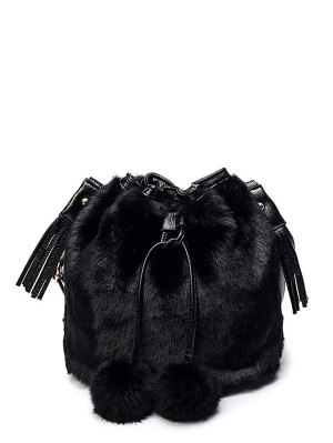 Pompon Tassel Furry Bucket Bag - Black